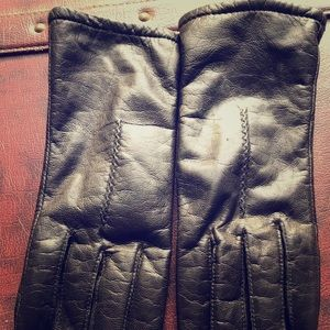 Black leather (authentic)  gloves-size 8